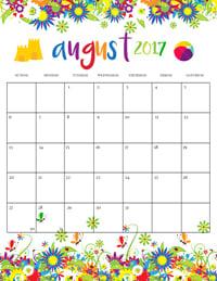 Summer Calendar August 2017
