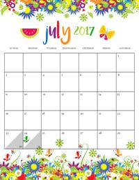 Summer Calendar July 2017
