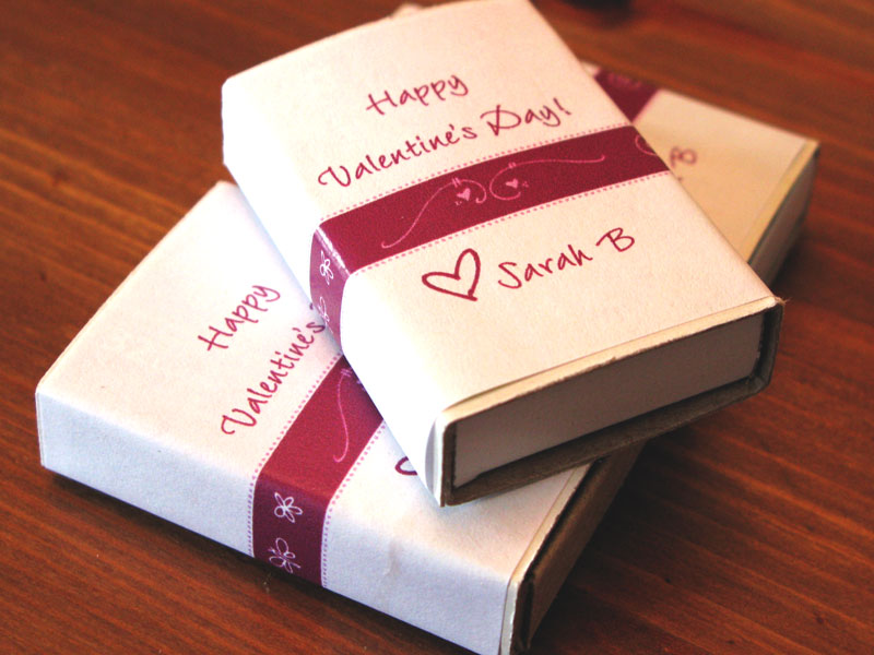 Valentine Treat Boxes with Personalized Labels