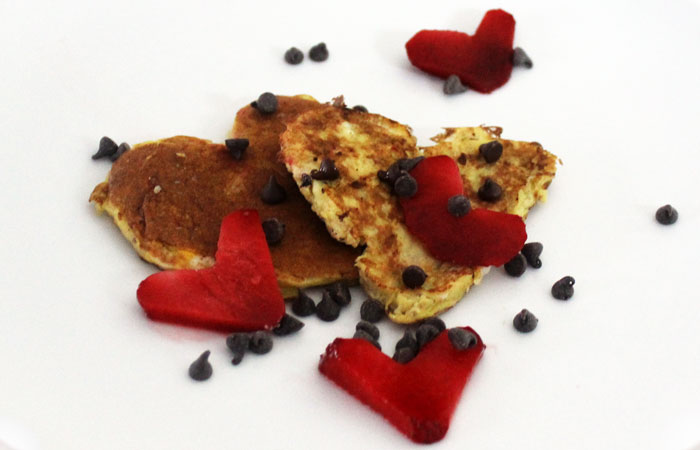 Healthy Valentine's Day Banana Pancakes