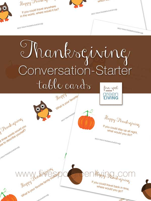 Kid-Friendly Thanksgiving Conversation Starter Place Cards