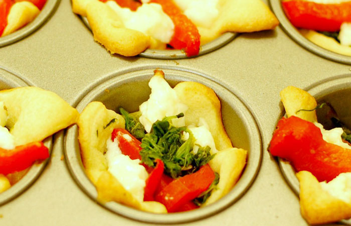 Feta, Pepper and Spinach Cups
