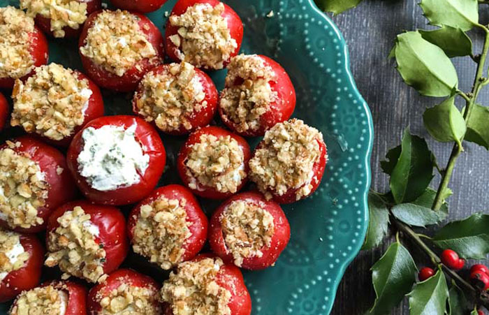 Goat Cheese and Basil Stuffed Peppadews