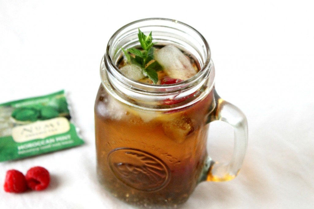 Iced Mint Raspberry Tea with Chia Seeds