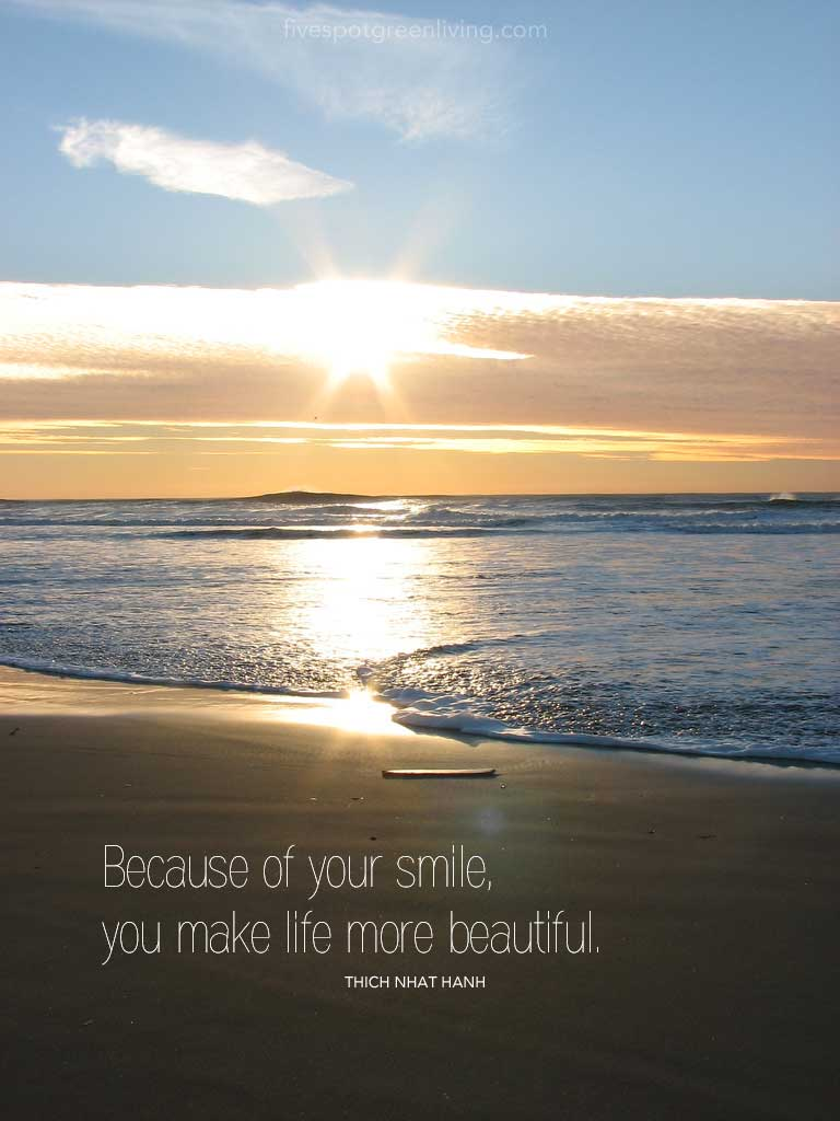 Because of your smile, you make life more beautiful. Thich Nhat Hanh Quotes and Talk of Peace