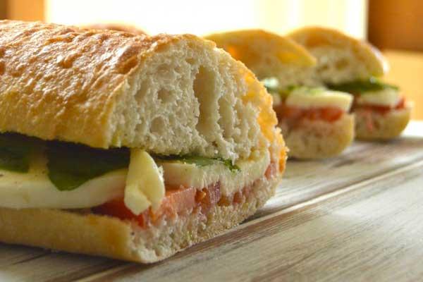 Tomato Mozzarella Basil Sandwich