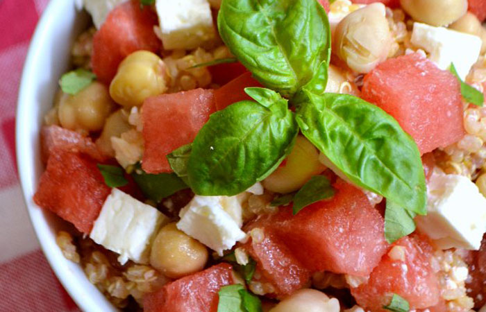 watermelon-basil-quinoa-salad 30 Healthy Appetizers for Summer BBQs and July 4th