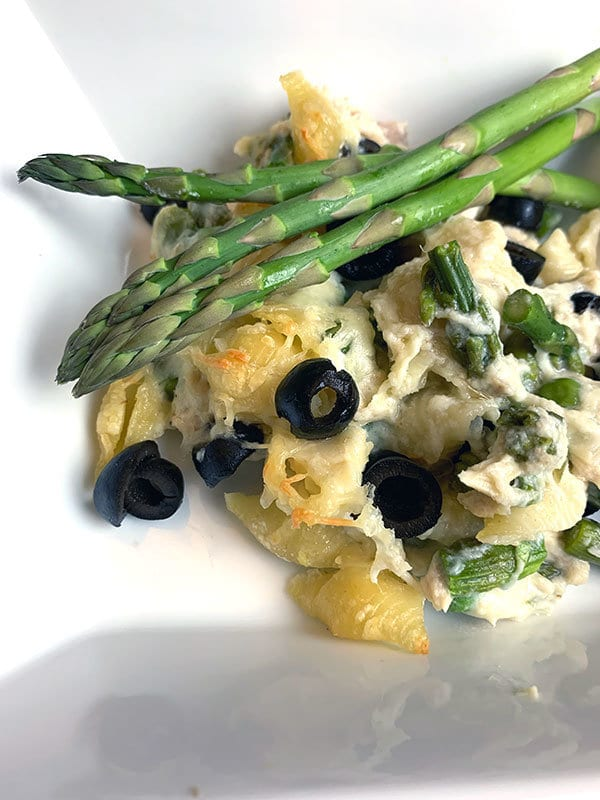 asparagus casserole with tuna and black olives