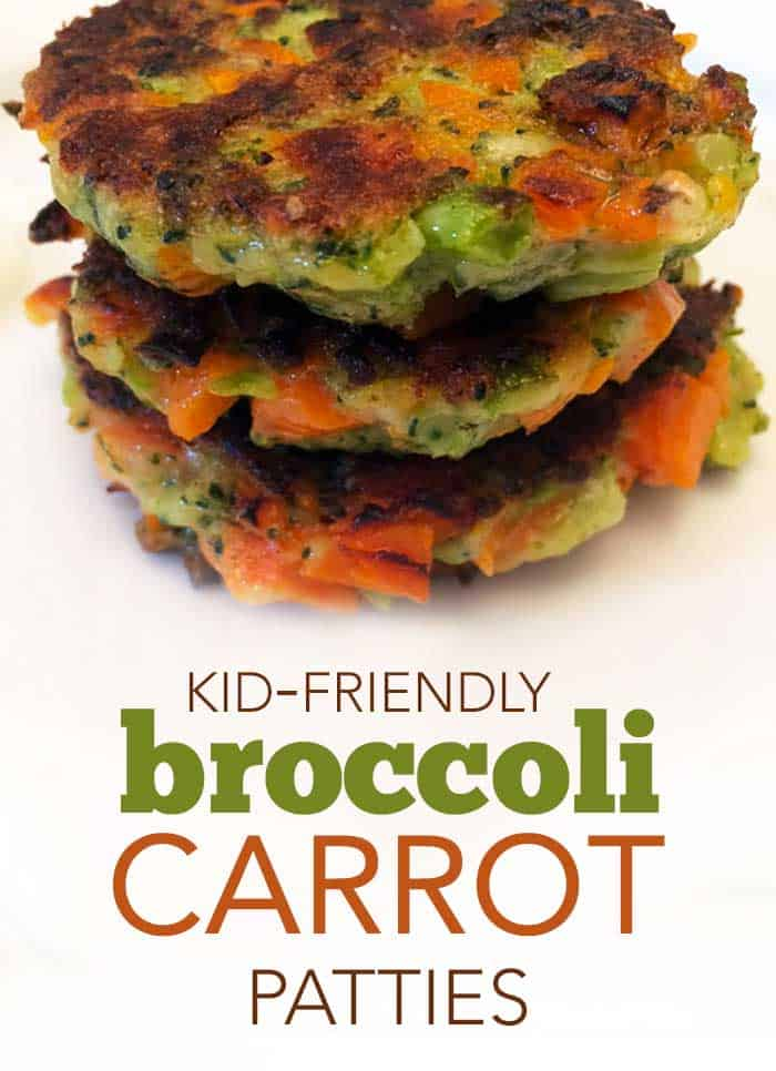 kid-friendly broccoli and carrot vegetable patties