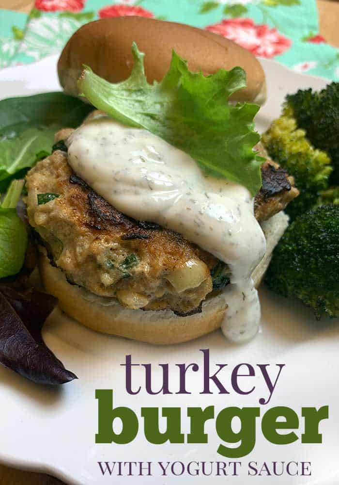 turkey burger recipe with spinach and cheese and creamy dill yogurt sauce
