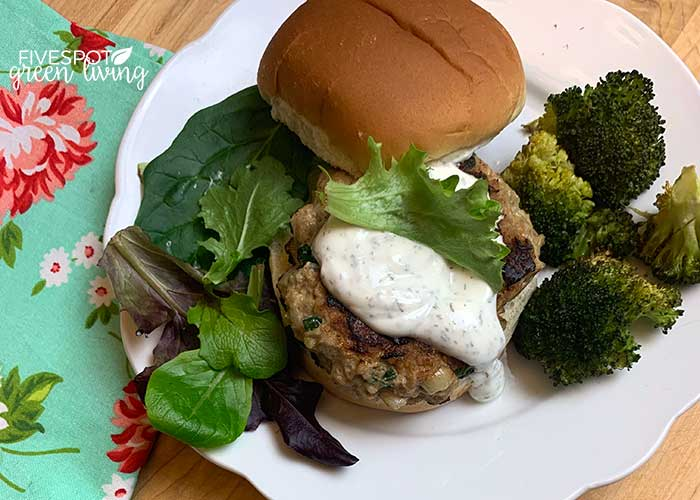 homemade turkey burger with spinach and cheese