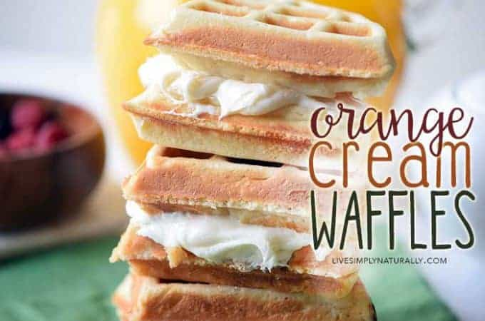 homemade waffles with orange cream