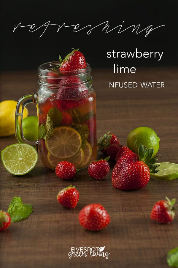 strawberry lime infused detox water in mason jar