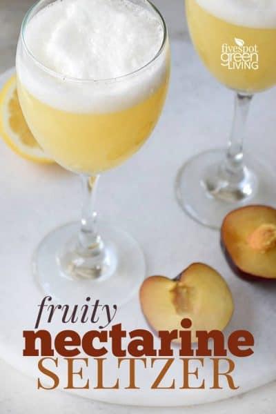 fruity nectarine seltzer mocktail