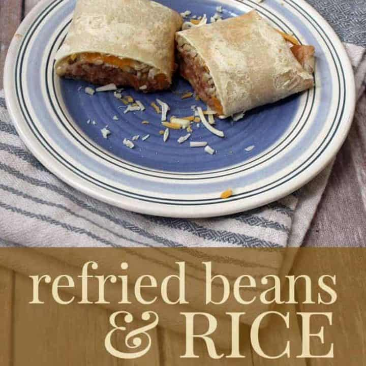 refried beans and rice burrito
