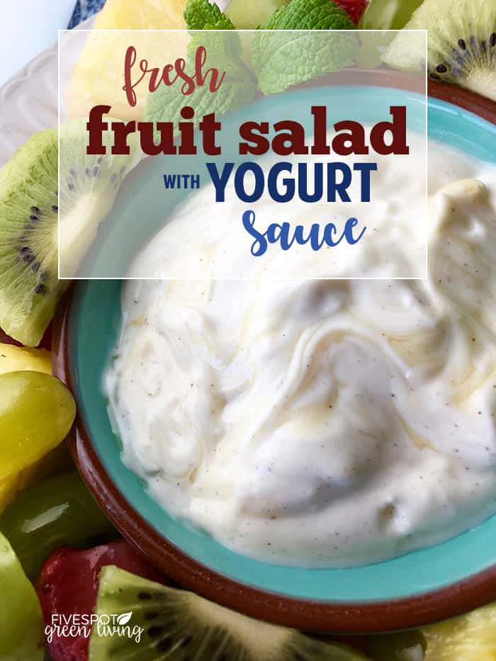 fresh fruit salad with yogurt sauce