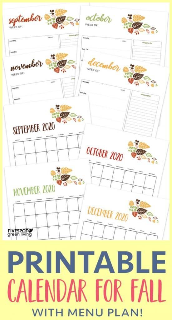 free printable calendar and menu plan for fall