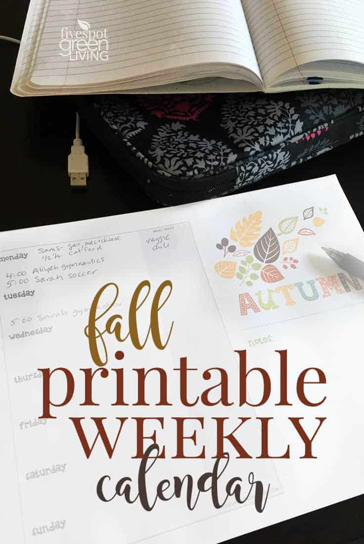 fall printable weekly calendar