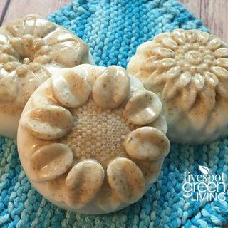homemade oatmeal soap on washcloth