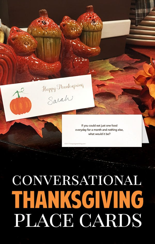 Conversation starter Thanksgiving place cards