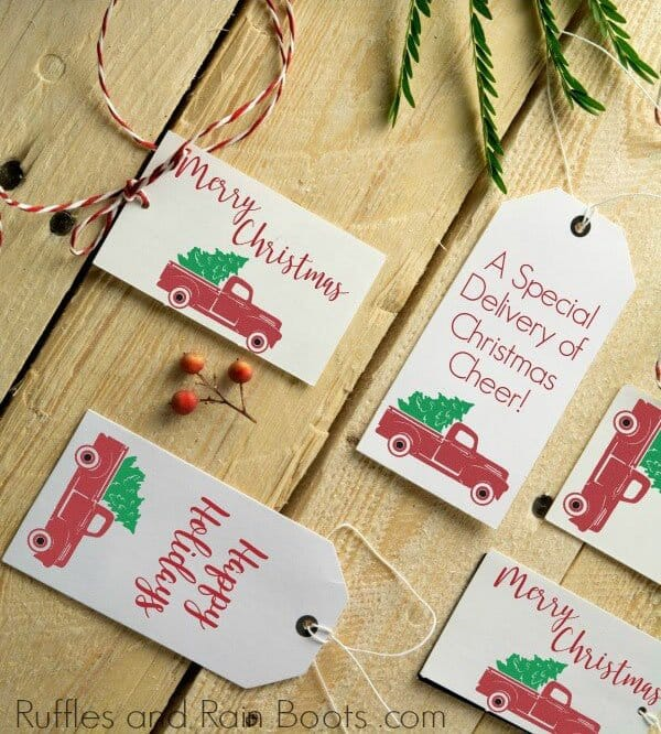 Free-Christmas-Gift-Tag-Printable-Red-Truck Over 40 Free Printable Christmas Gift Tags