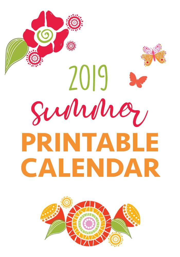2019 printable summer calendar