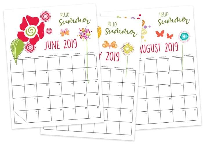 free printable summer calendar 2019