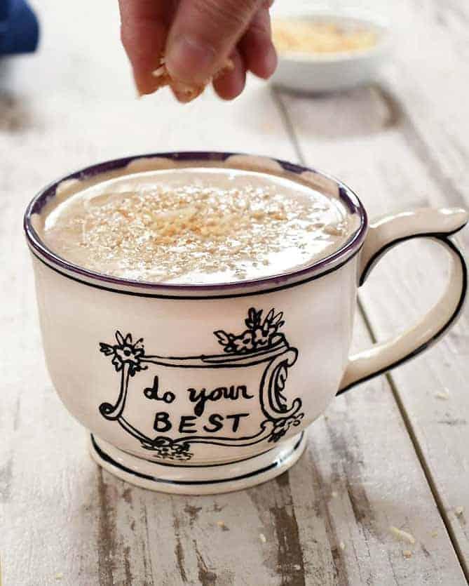 vegan hazelnut mocha coconut latte