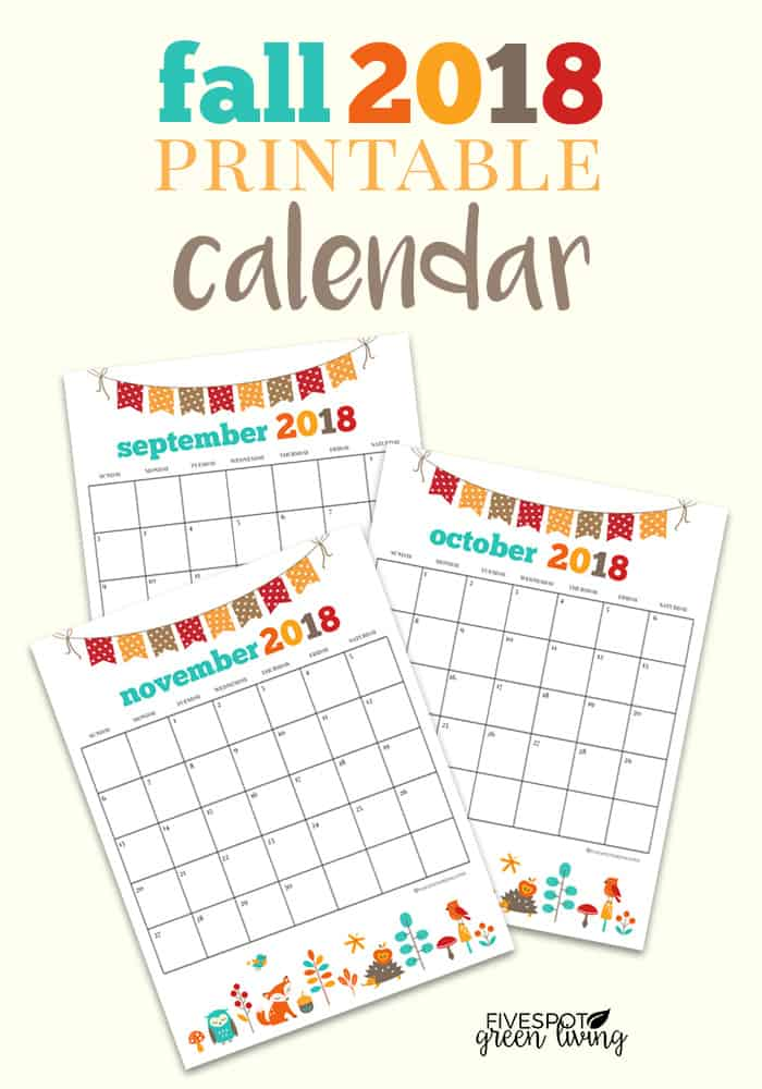 blog-fall-2018-printable-calendar-PIN Woodland Animal Printable Calendar Pages for Fall