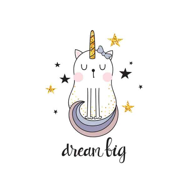Dream big caticorn printable