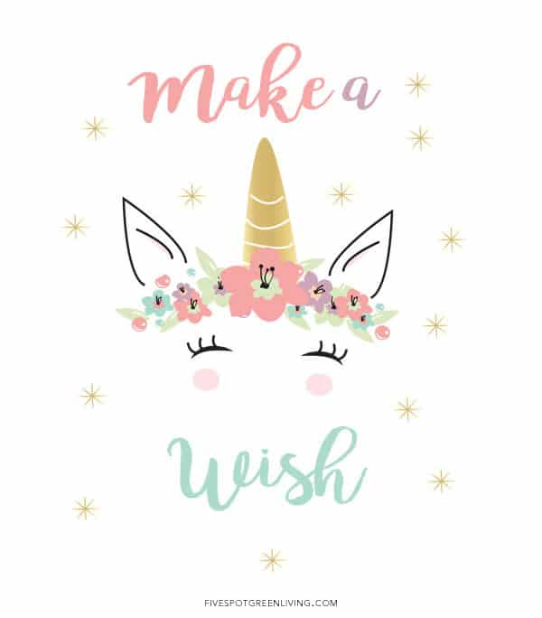 Make a wish unicorn quote printable