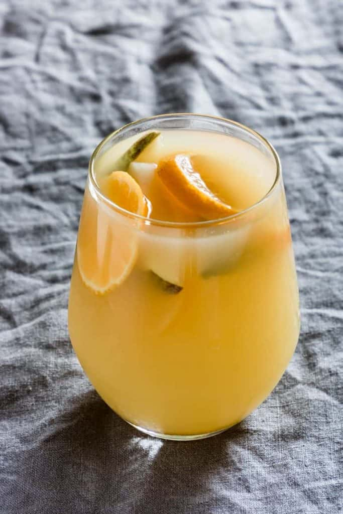 mulled warm pear clementine drink for fall