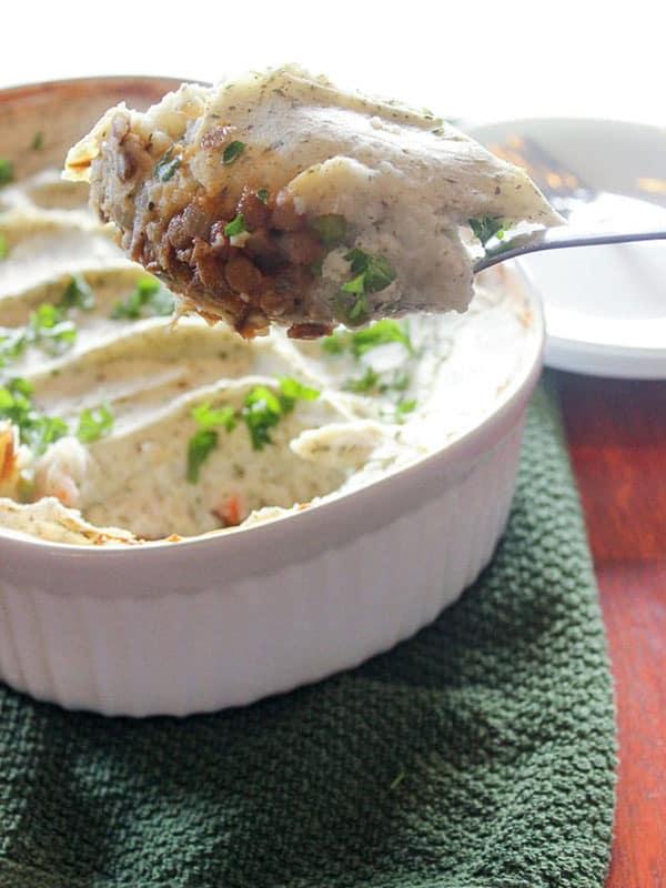 Vegetarian-Shepherds-Pie-With-Lentils 20 Hearty Vegetarian Casserole Recipes