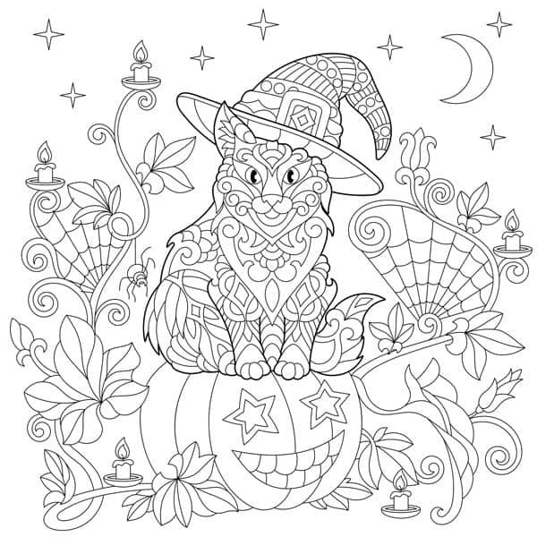cat halloween coloring