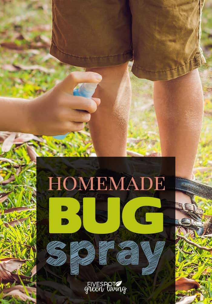 natural homemade insect repellent spray on skin with essential oils
