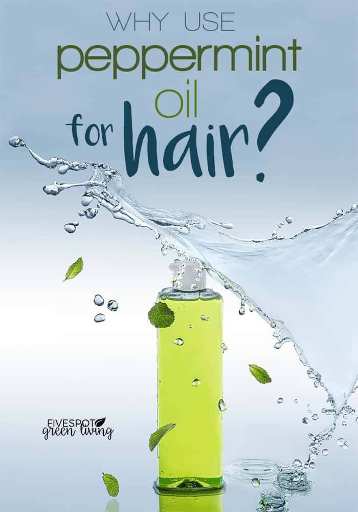 peppermint oil for hair with shampoo bottle