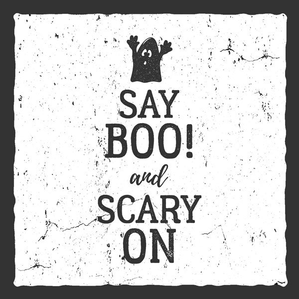 say boo and scary on printable