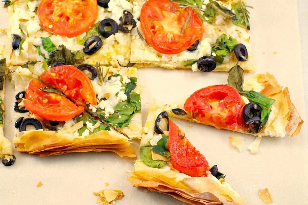 Greek-Vegetarian-Phyllo-Pizza-1024x683-1 50 Mostly-Healthy Easy Big Game Appetizers
