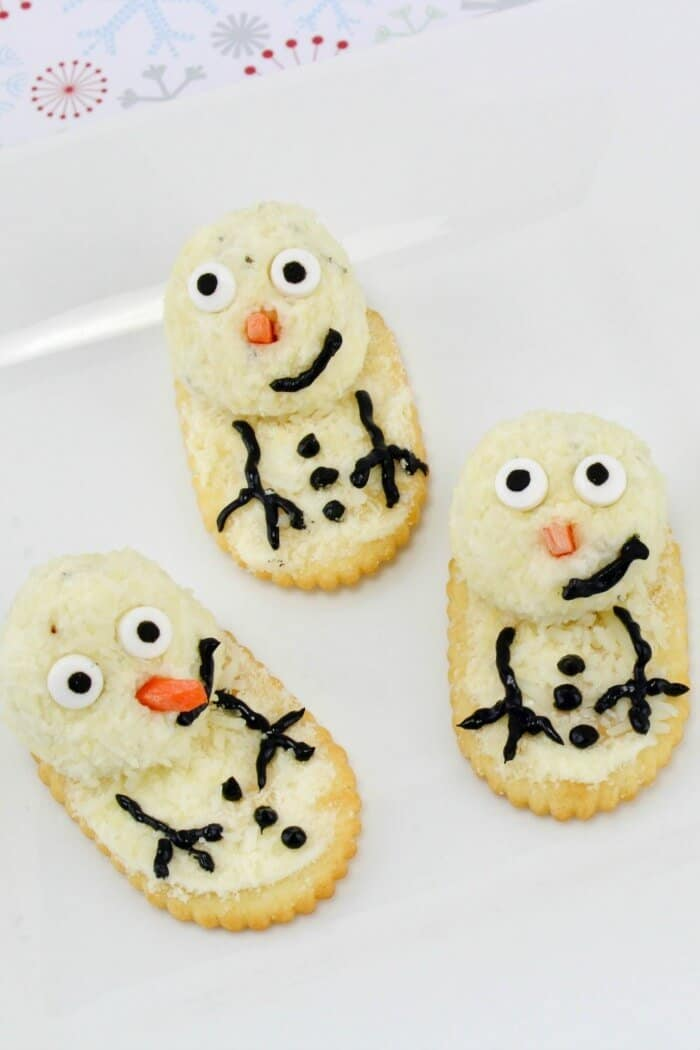 melting snowman cheese ball bites