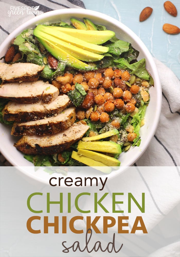 easy and delicious chicken chickpea salad with avocado