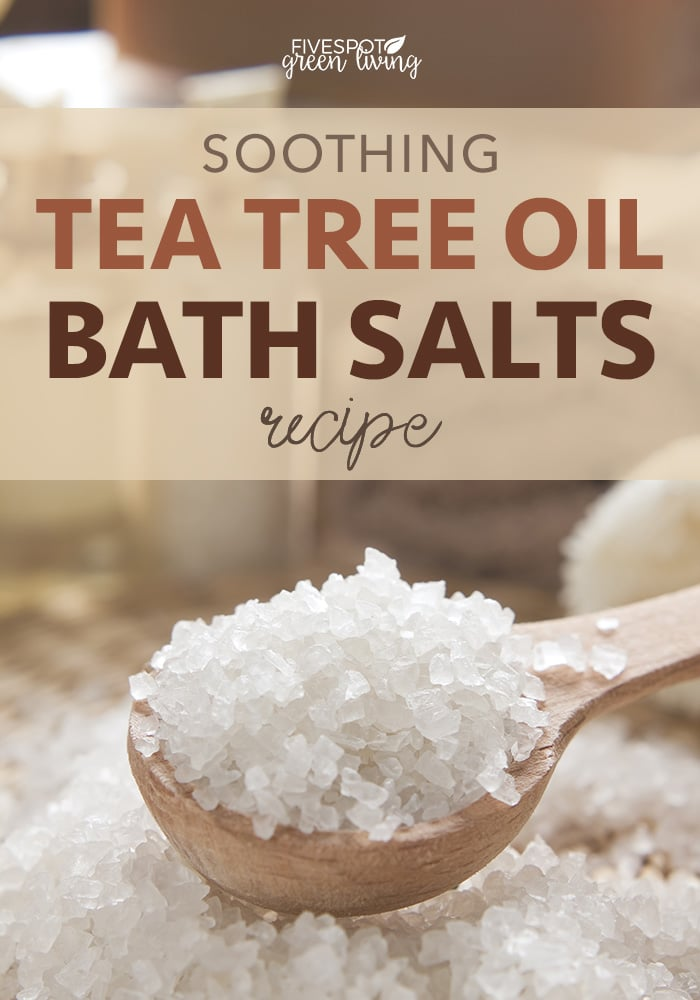tea tree oil bath salts on wooden spoon