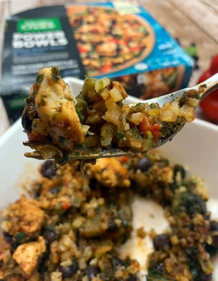 Healthy Choice black bean and chicken over riced cauliflower