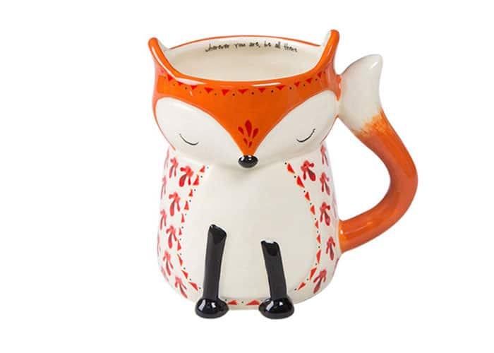 fox mug with handwritten sentiment