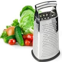 Spring Chef Box Grater, 4-Sided Stainless Steel Grater