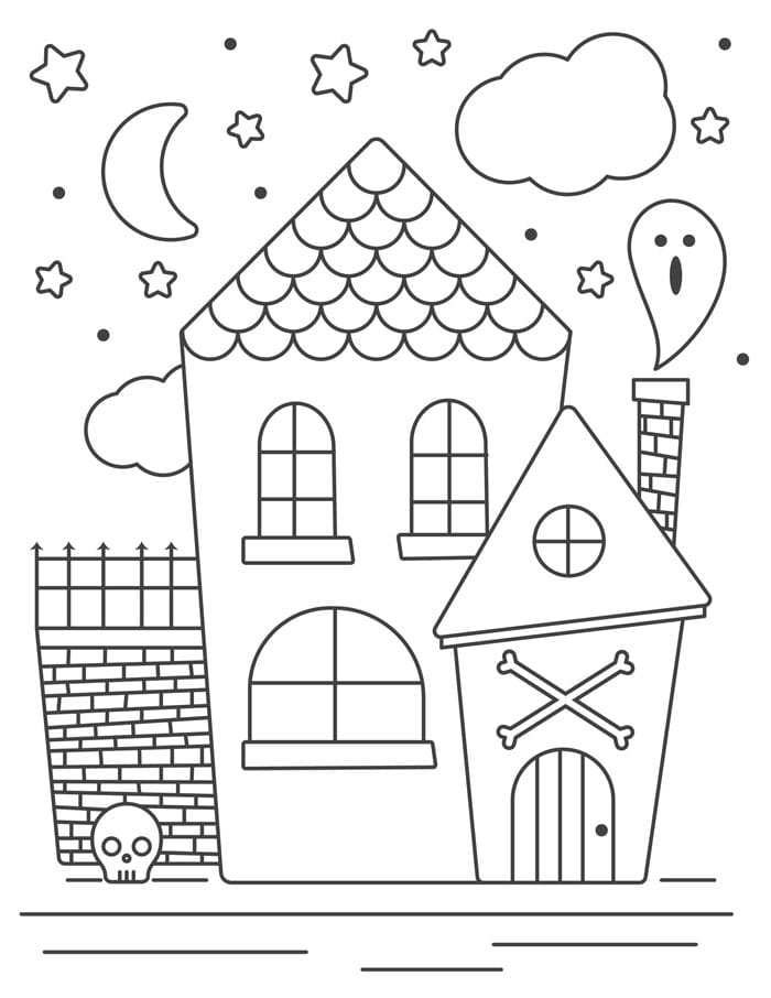 halloween coloring page haunted house