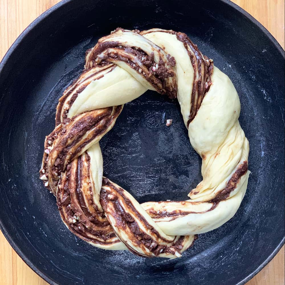 peppermint bark bread twisted in ring