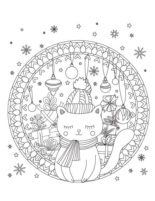 christmas coloring page cat