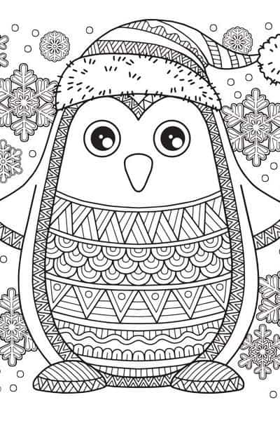 christmas coloring page penguin
