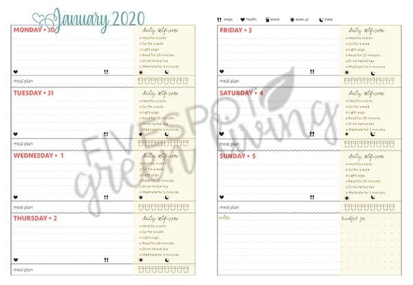 self care daily checklist planner