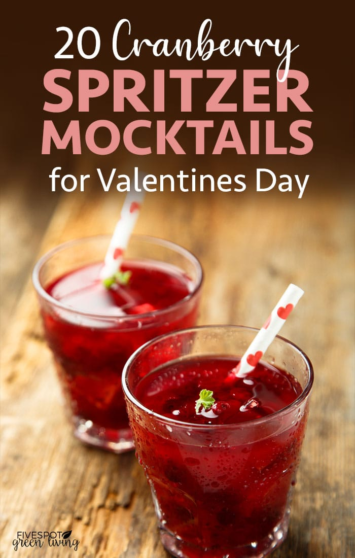 cranberry spritzer mocktails for valentines day